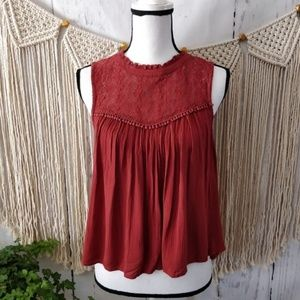 American Eagle Red Lace Ruffle Eyelet Crop Top XS